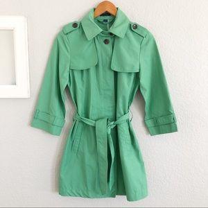 NEW Gap Green Trench Coat Long Rain Jacket Small